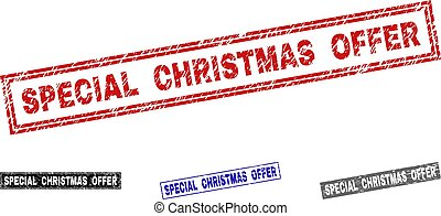 Grunge SPECIAL CHRISTMAS OFFER Scratched Rectangle Stamps