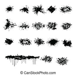 grunge splash and ink drops set on the white isolated