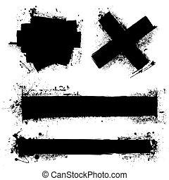 grunge splat element - Black ink splat with roller marks and...