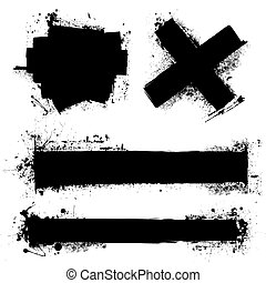 grunge splat element - Black ink splat with roller marks and...