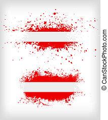 grunge, splattered, vlag, oostenrijks, inkt