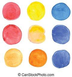 grunge, spots., watercolor, vector, banieren, jouw, design.