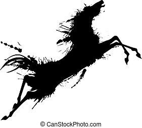 grunge, springt, paarde, silhouette