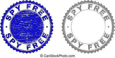 Grunge SPY FREE Scratched Stamp Seals