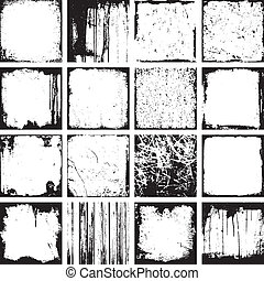 Grunge Square Backgrounds And Frames Vector