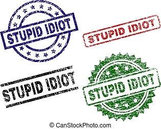 grunge, stämpel, tätningar, strukturerad, dum, idiot