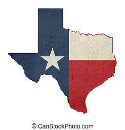grunge, staatsvlag, kaart, texas