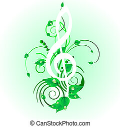 grunge staff - Grunge vector musical notes background for...