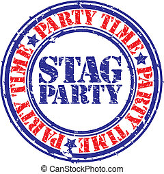 Grunge stag party rubber stamp, vector