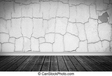 Grunge stage with wooden floor
