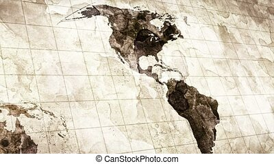grunge stained map of the world loopable
