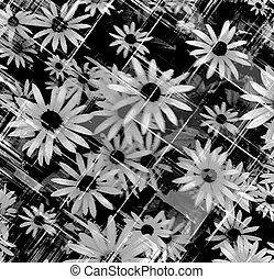 Grunge stained white and black floral background with...