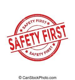 grunge, stamp., bezpieczeństwo, okrągły, czerwony, pierwszy