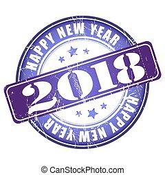 grunge, stamp., gomma, 2018, anno, nuovo, felice