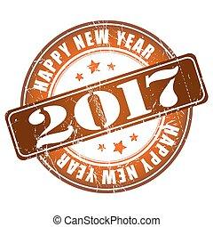 grunge, stamp., gomma, anno, nuovo, 2017, felice