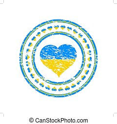 Grunge stamp of heart with the flag of Ukraine