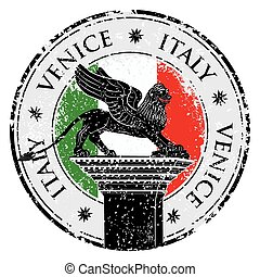 Grunge stamp of Venice, flag of Italy inside, vector illustration