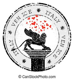 Grunge stamp of Venice, hearts to Italy inside, vector...