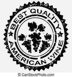 Grunge stamp, quality label for American wine