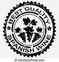 Grunge stamp, quality label for Spanish wine
