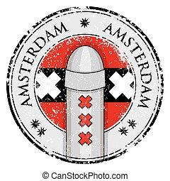 Grunge stamp with bollard symol of Amsterdam and flag,...