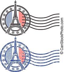 Grunge stamp with Eiffel Tower