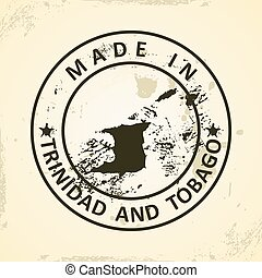 Trinidad and Tobago - Grunge stamp with map of Trinidad and...