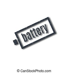 Grunge stamp with text battery, vector illustration.