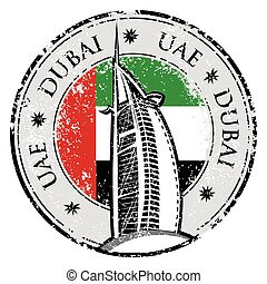 Grunge stamp with the flag and town Dubai, emirate of United Arab Emirates vector