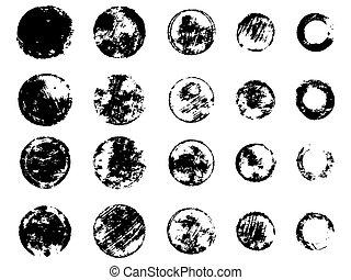 Grunge stamps collection, circles. Black banners, frames, insignias , logos, labels, badges set. Handmade shapes. Vector illustration