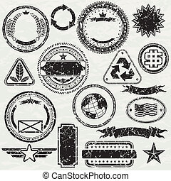Grunge stams - Grunge Rubber stamp design elements, vector...