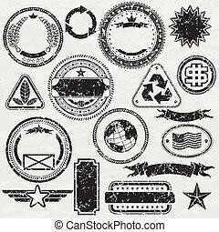 Grunge stams - Grunge Rubber stamp design elements, vector ...