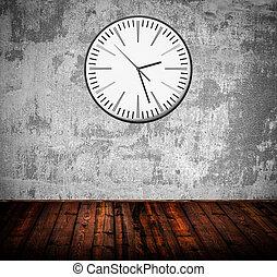 grunge, stanza, con, vecchio, orologio parete