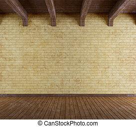 grunge, stanza, parete, vecchio, mattone, vuoto