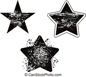 grunge star element damaged vector design set