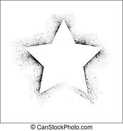 Grunge star frame - White star shape with black ink blots...