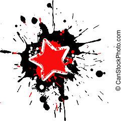 Grunge star frame with splashes