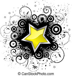 Glossy star on decorative grunge background