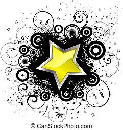 Grunge star  - Glossy star on decorative grunge background