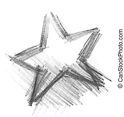 grunge star graphite pencil texture isolated on white background