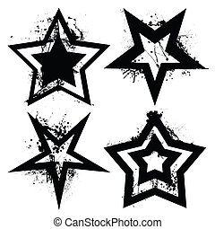 Grunge star set - Black and white grunge star collection ...