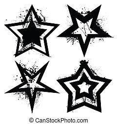 Grunge star set - Black and white grunge star collection ...
