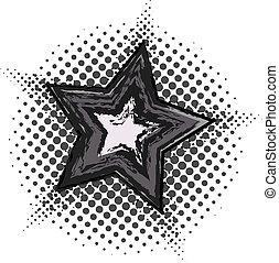 Grunge star with halftone pattern
