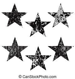 Grunge stars on white background