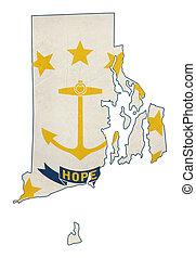 Grunge state of Rhode island flag map