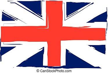 grunge, stendardo bandiera, o, regno unito