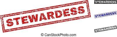 Grunge STEWARDESS Scratched Rectangle Stamp Seals