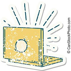 grunge sticker of tattoo style laptop computer