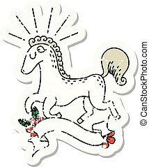 grunge sticker of tattoo style prancing stallion