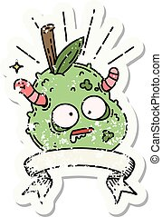 grunge sticker of tattoo style rotten pear - worn old ...